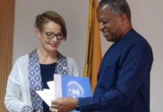 Hon. Minister Geoffrey Jideofor Kwusike Onyeama and Ms Ulla Elisabeth Mueller during the submission of letter of credence