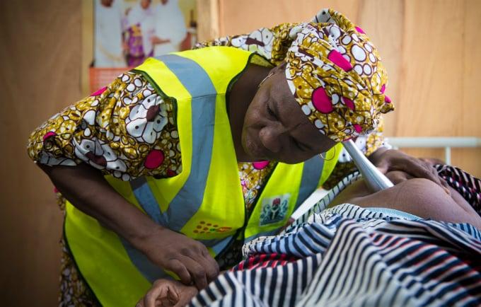 A survivor at an IDP camp in Maiduguri, receiving ante-natal care at a UNFPA health facility