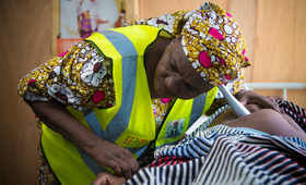 A survivor at an IDP camp in Maiduguri, receiving ante-natal care at a UNFPA health facility